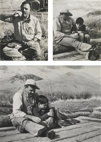 hemingway and son gregory during hunting trip in sun valley (3 works) by robert capa